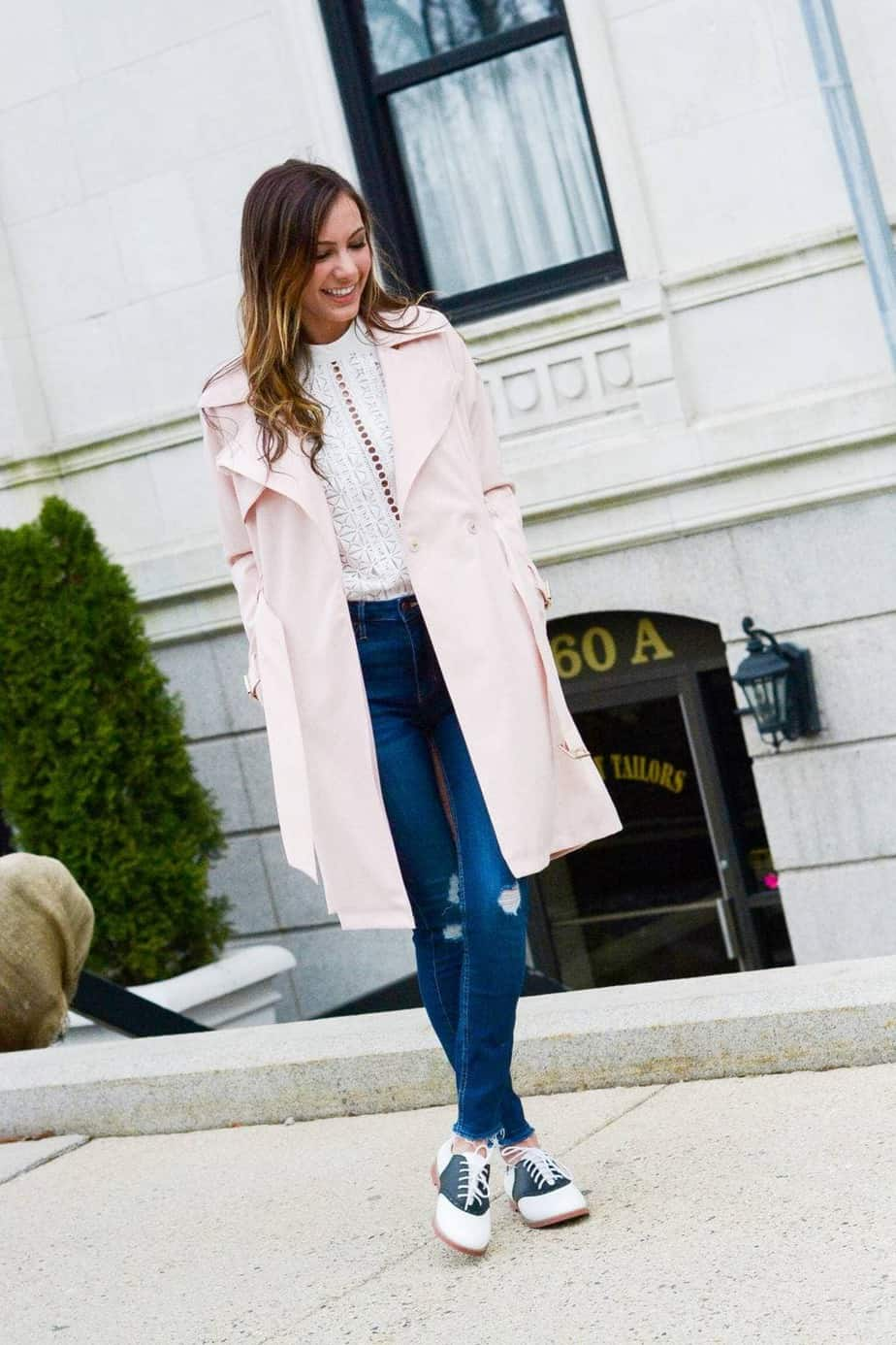 pink french connection trench coat