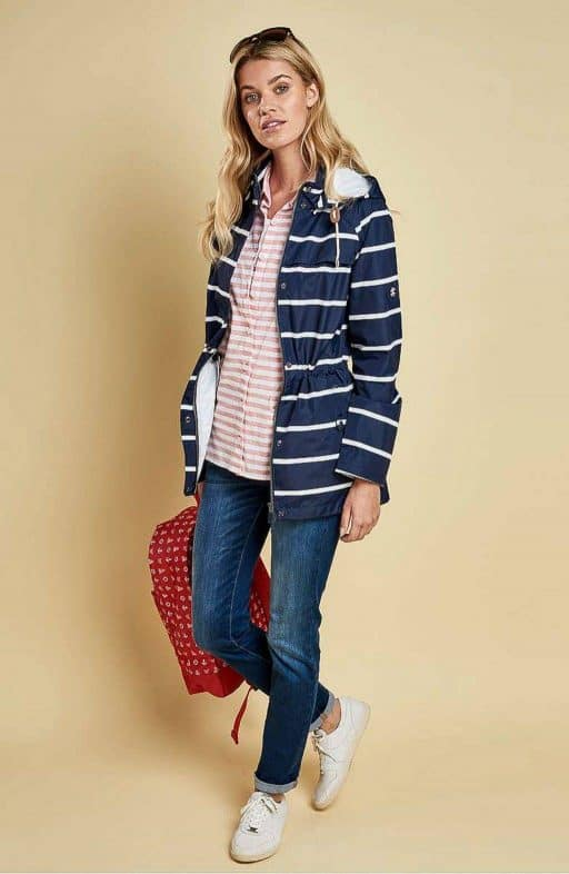 Spring and summer raincoats blue and white stripes navy