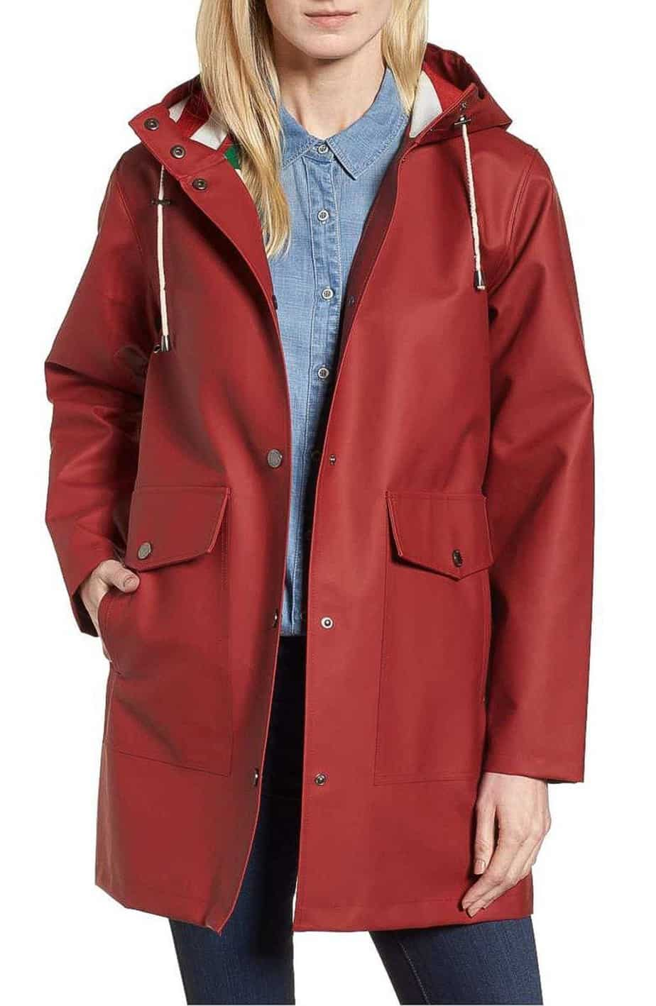 spring and summer red raincoat