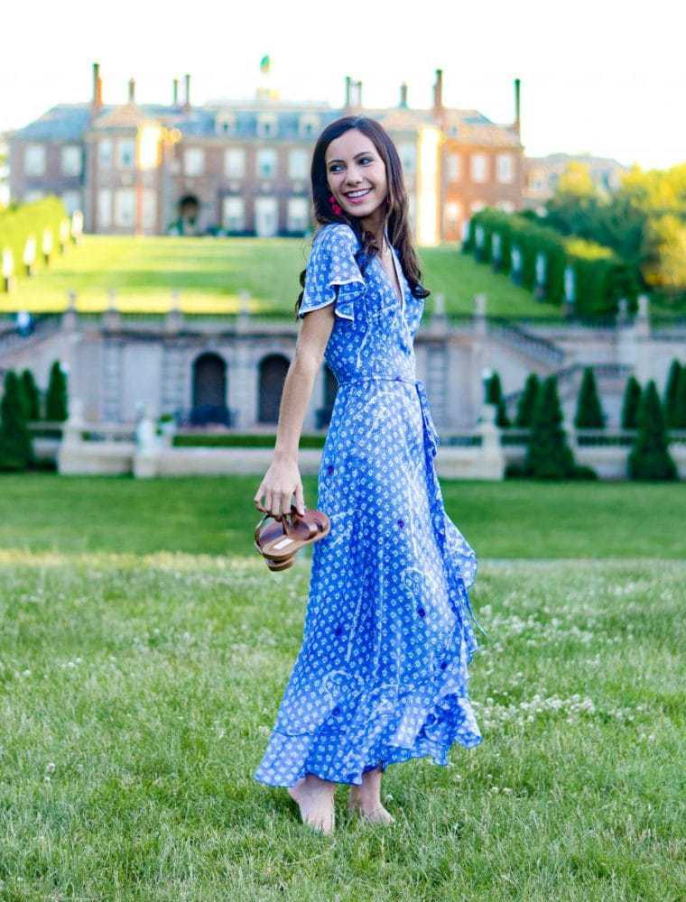 Touring Castle Hill in a Revolve Blue Maxi Wrap Dress
