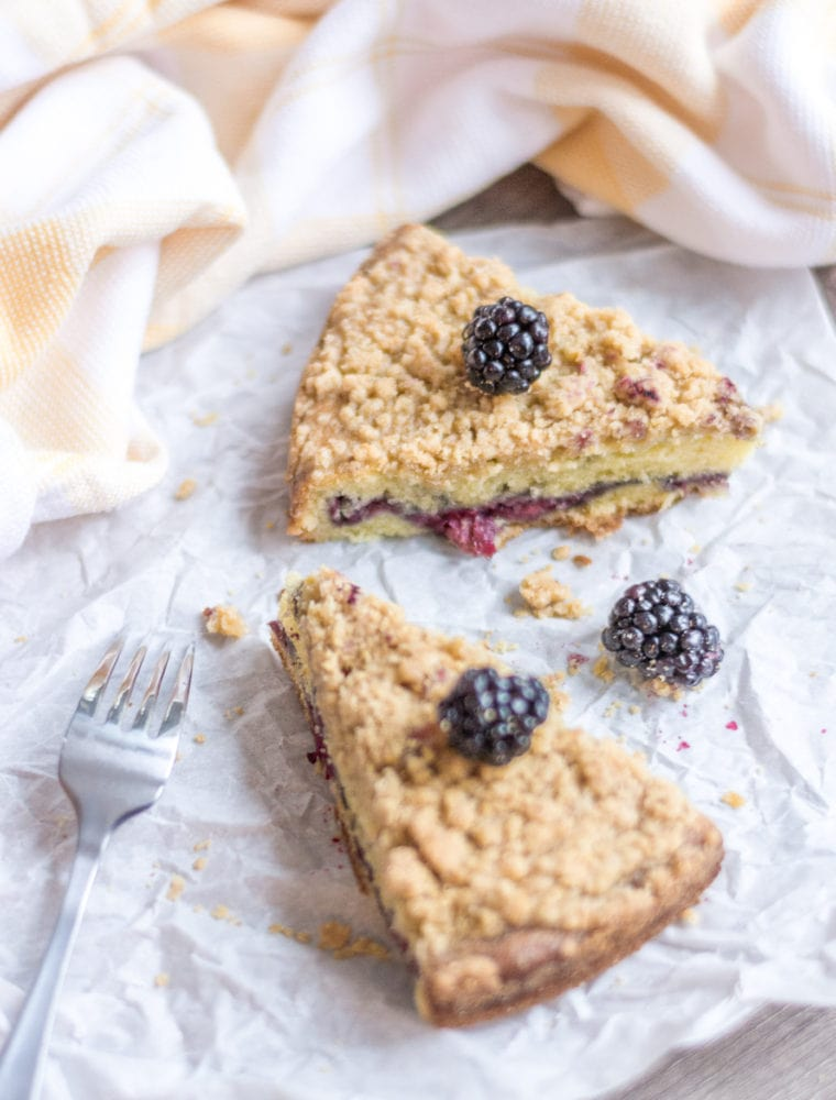 A Lemon Crumb Cake Recipe With Blackberry Cake Filling